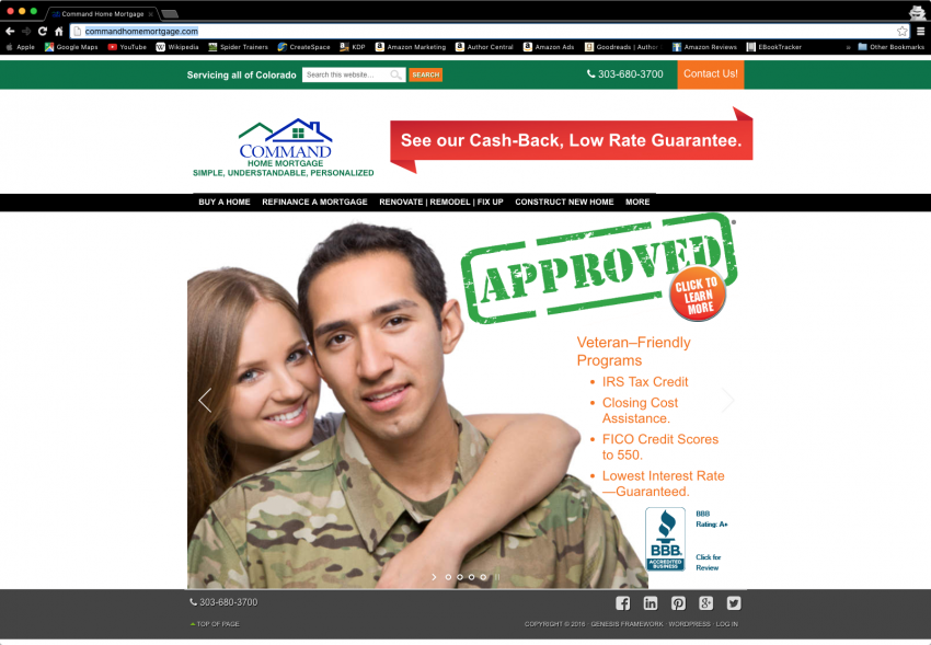 Spider Trainers gallery: Command Home Mortgage website (image)