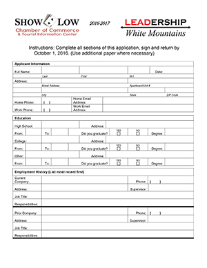 Leadership White Mountains application (image)